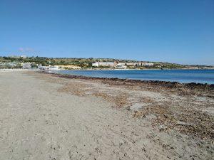 An empty sandy beach